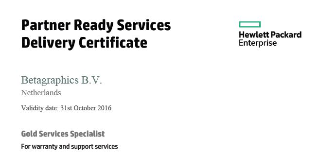 HPE Service One Delivery Certificate